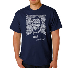 LA Pop Art Men's Word Art T-shirt - ABRAHAM LINCOLN - GETTYSBURG ADDRESS