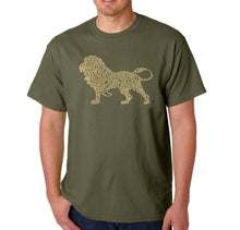 Load image into Gallery viewer, LA Pop Art Men's Word Art T-shirt - Lion