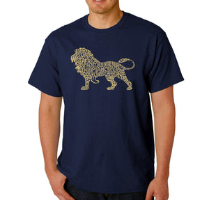 LA Pop Art Men's Word Art T-shirt - Lion