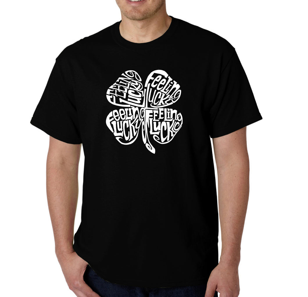 LA Pop Art Men's Word Art T-shirt - Feeling Lucky