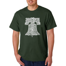 Load image into Gallery viewer, LA Pop Art  Men's Word Art T-shirt - Liberty Bell