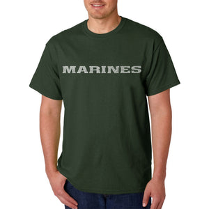 LA Pop Art Men's Word Art T-shirt - LYRICS TO THE MARINES HYMN