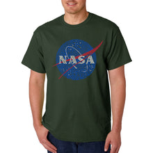 Load image into Gallery viewer, LA Pop Art  Men's Word Art T-shirt - NASA's Most Notable Missions