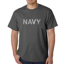 Load image into Gallery viewer, LA Pop Art Men's Word Art T-shirt - LYRICS TO ANCHORS AWEIGH