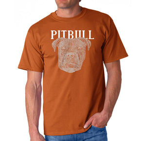 LA Pop Art Men's Word Art T-shirt - Pitbull Face