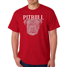 Load image into Gallery viewer, LA Pop Art Men's Word Art T-shirt - Pitbull Face