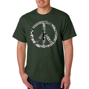 LA Pop Art Men's Word Art T-shirt - PEACE, LOVE, & MUSIC