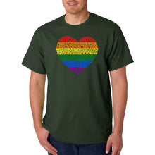 Load image into Gallery viewer, LA Pop Art Men's Word Art T-shirt - Pride Heart
