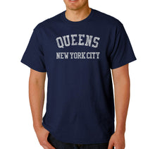 Load image into Gallery viewer, LA Pop Art Men's Word Art T-shirt - POPULAR NEIGHBORHOODS IN QUEENS, NY