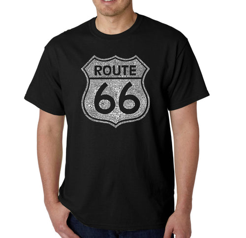 LA Pop Art Men's Word Art T-shirt - CITIES ALONG THE LEGENDARY ROUTE 66