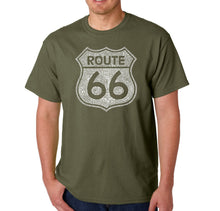 Load image into Gallery viewer, LA Pop Art Men's Word Art T-shirt - CITIES ALONG THE LEGENDARY ROUTE 66