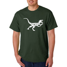 Load image into Gallery viewer, LA Pop Art Men's Word Art T-shirt - Velociraptor