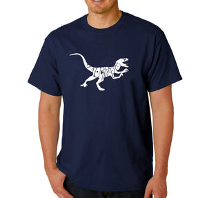 LA Pop Art Men's Word Art T-shirt - Velociraptor