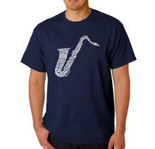 Load image into Gallery viewer, LA Pop Art Men's Word Art T-shirt - Sax