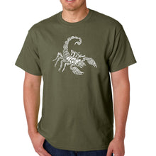 Load image into Gallery viewer, LA Pop Art  Men's Word Art T-shirt - Types of Scorpions