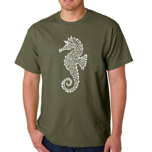 LA Pop Art  Men's Word Art T-shirt - Types of Seahorse