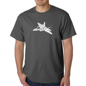 LA Pop Art Men's Word Art T-shirt - FIGHTER JET - NEED FOR SPEED