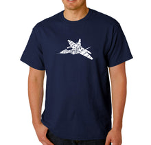 Load image into Gallery viewer, LA Pop Art Men's Word Art T-shirt - FIGHTER JET - NEED FOR SPEED