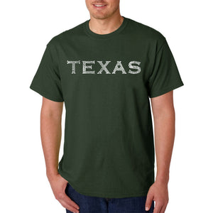 LA Pop Art Men's Word Art T-shirt - THE GREAT CITIES OF TEXAS