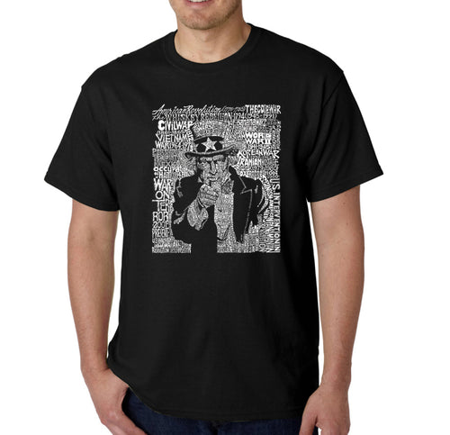 LA Pop Art Men's Word Art T-shirt - UNCLE SAM
