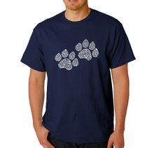 Load image into Gallery viewer, LA Pop Art  Men's Word Art T-shirt - Woof Paw Prints