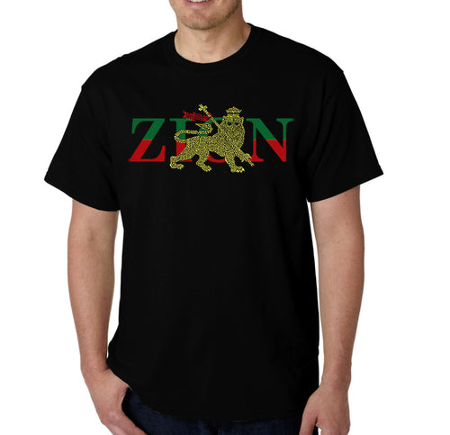 LA Pop Art Men's Word Art T-shirt - Zion - One Love