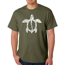 Load image into Gallery viewer, LA Pop Art Men's Word Art T-shirt - Honu Turtle - Hawaiian Islands