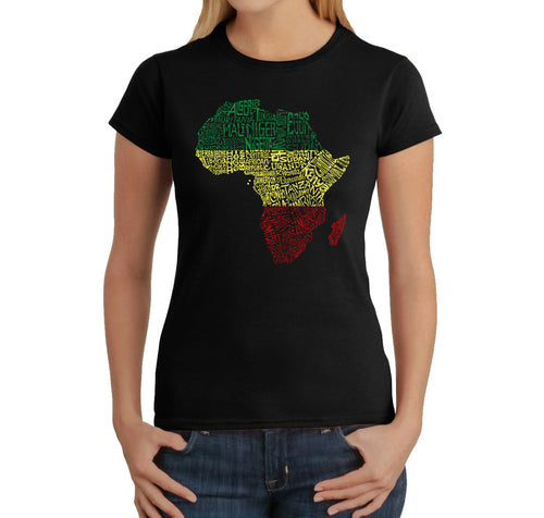 LA Pop Art Women's Word Art T-Shirt - Countries in Africa