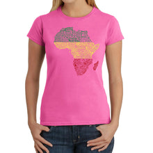 Load image into Gallery viewer, LA Pop Art Women's Word Art T-Shirt - Countries in Africa