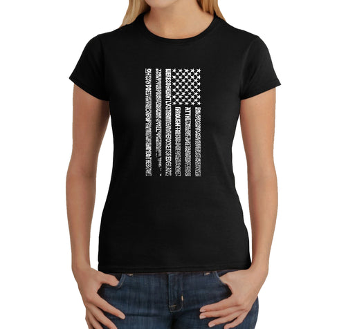 LA Pop Art Women's Word Art T-Shirt - National Anthem Flag