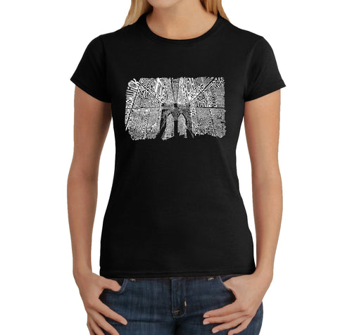 LA Pop Art Women's Word Art T-Shirt - Brooklyn Bridge