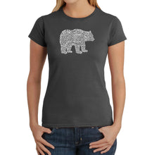 Load image into Gallery viewer, LA Pop Art Women's Word Art T-Shirt - Bear Species