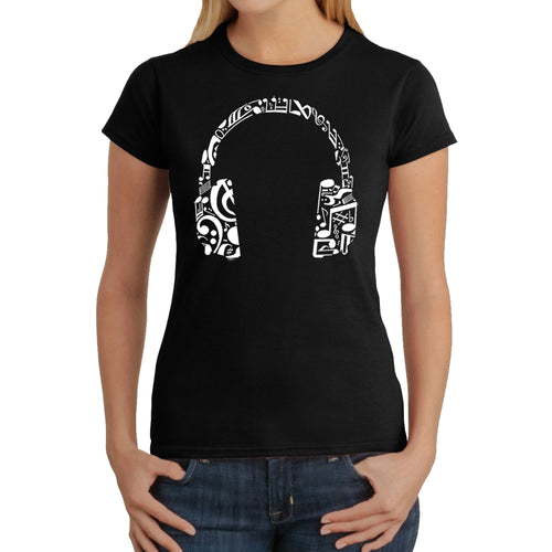 LA Pop Art Women's Word Art T-Shirt - Music Note Headphones