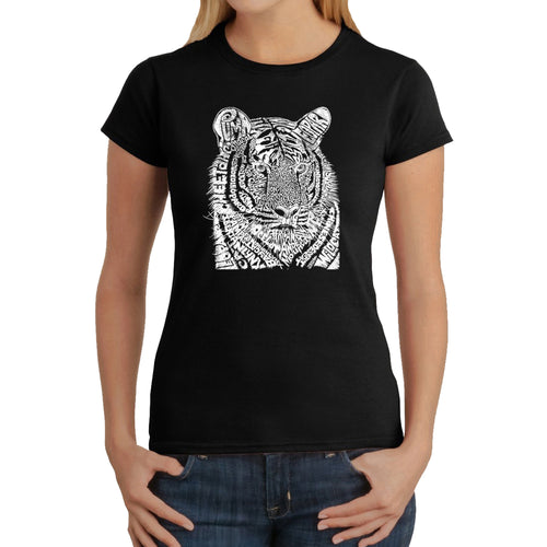 LA Pop Art  Women's Word Art T-Shirt - Big Cats