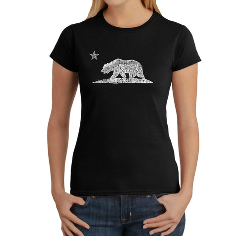 LA Pop Art Women's Word Art T-Shirt - California Bear