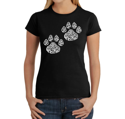 LA Pop Art Women's Word Art T-Shirt - Cat Mom