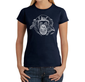 LA Pop Art Women's Word Art T-Shirt - Chimpanzee