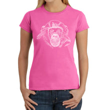 Load image into Gallery viewer, LA Pop Art Women's Word Art T-Shirt - Chimpanzee