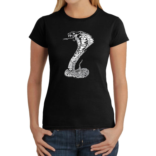 LA Pop Art  Women's Word Art T-Shirt - Types of Snakes