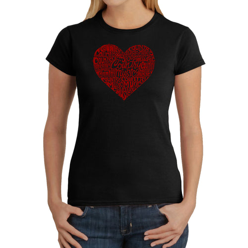 LA Pop Art Women's Word Art T-Shirt - Country Music Heart