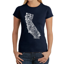 Load image into Gallery viewer, LA Pop Art  Women's Word Art T-Shirt - California State