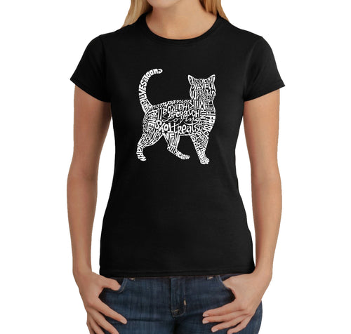 LA Pop Art Women's Word Art T-Shirt - Cat