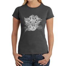 Load image into Gallery viewer, LA Pop Art  Women's Word Art T-Shirt - Cat Face