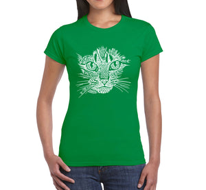 LA Pop Art  Women's Word Art T-Shirt - Cat Face