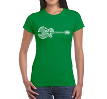 Load image into Gallery viewer, LA Pop Art Women's Word Art T-Shirt - Country Guitar