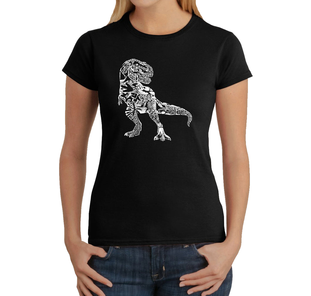 LA Pop Art Women's Word Art T-Shirt - Dino Pics