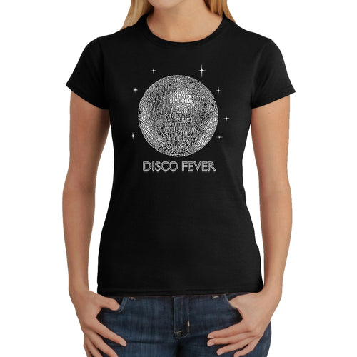 LA Pop Art Women's Word Art T-Shirt - Disco Ball
