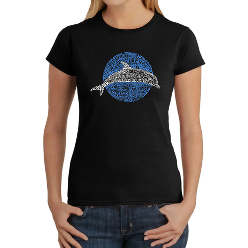 LA Pop Art  Women's Word Art T-Shirt - Species of Dolphin