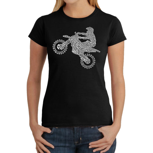 LA Pop Art Women's Word Art T-Shirt - Freestyle Motocross - FMX