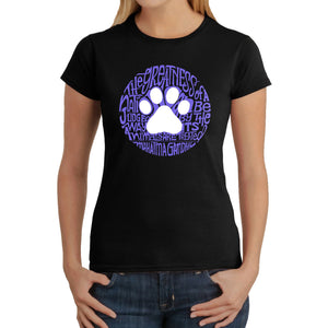LA Pop Art  Women's Word Art T-Shirt - Gandhi's Quote on Animal Treatment